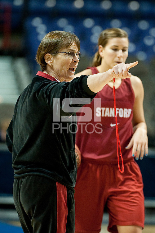 SPOKANE, WA - MARCH 25, 2011:  Head Coach Tara VanDerveer at the Stanford Women's Basketball, NCAA West Regionals practice at Spokane Arena on March 25, 2011.