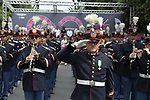 The band plays at sign on before the start of Stage 21 of the 2018 Giro d'Italia, running 115km around the centre of Rome, Italy. 27th May 2018.<br /> Picture: LaPresse/Marco Alpozzi | Cyclefile<br /> <br /> <br /> All photos usage must carry mandatory copyright credit (&copy; Cyclefile | LaPresse/Marco Alpozzi)
