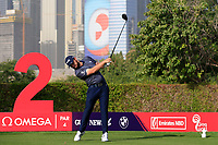Tyrrell Hatton (ENG) on the 2nd tee during Round 3 of the Omega Dubai Desert Classic, Emirates Golf Club, Dubai,  United Arab Emirates. 26/01/2019<br /> Picture: Golffile | Thos Caffrey<br /> <br /> <br /> All photo usage must carry mandatory copyright credit (© Golffile | Thos Caffrey)