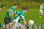 South Kerry's Ian Galvin powers away from Colaiste Chriost Ri's Kevin Harte to score his sides first goal in their Corn Ui Mhuiri first round clash in Direen, Killarney on Wednesday.   Copyright Kerry's Eye 2008
