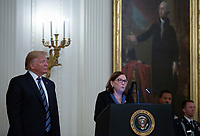 Susan Rescorla, the widow of Richard Rescorla, accepts the Presidential Citizens Medal from United States President Donald J. Trump on her late husband's behalf in the East Room of the White House in Washington D.C., U.S. on Thursday, November 7, 2019.  Rescorla helped save the lives of nearly 2,700 people at the World Trade Center in New York City on September 11, 2001.   <br />   <br /> CAP/MPI/CNP/SR<br /> ©SR/CNP/MPI/Capital Pictures