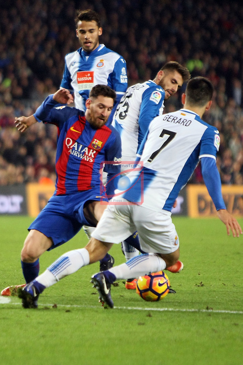 League Santander 2016/2017. Game: 16.<br /> FC Barcelona vs RCD Espanyol: 4-1.<br /> Diego Reyes, Lionel Messi, David Lopez, Gerard Moreno.