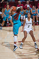 STANFORD, CA - December 4, 2016: Dijonai Carrington at Maples Pavilion. Stanford defeated UC Davis, 68-42. The Cardinal wore turquoise uniforms to honor Native American Heritage Month