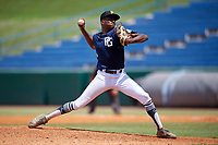 Michael Braswell (1) of Campbell High School in Mableton, GA during the Perfect Game National Showcase at Hoover Metropolitan Stadium on June 19, 2020 in Hoover, Alabama. (Mike Janes/Four Seam Images)