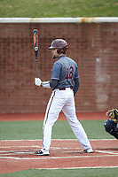 Chance Davis (18) of the Concord Mountain Lions at bat against the Wingate Bulldogs at Ron Christopher Stadium on February 1, 2020 in Wingate, North Carolina. The Bulldogs defeated the Mountain Lions 8-0 in game one of a doubleheader. (Brian Westerholt/Four Seam Images)