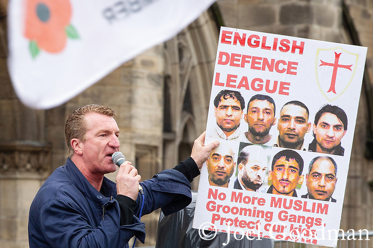 © Joel Goodman - 07973 332324 . 09/06/2012. Rochdale , UK. EDL Deputy Leader KEVIN CARROLL speaks to the crowd at the demonstration . The English Defence League ( EDL ) hold a march and rally in Rochdale Town Centre . Photo credit : Joel Goodman