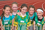 An Riocht athletes Anna Prenderville, Adrienne McEllistrim, Elaine Doody, Sadhbh OConnor and Emer Lynch warming up for the County Athletic Championships in Castleisland last Saturday.  .