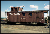 D&amp;RGW caboose #0503 possibly in Alamosa.<br /> D&amp;RGW  Alamosa ?, CO  Taken by Berkstresser, George