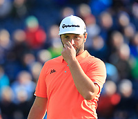 Jon Rahm (ESP) at the 12th green during Thursday's Round 1 of the 148th Open Championship, Royal Portrush Golf Club, Portrush, County Antrim, Northern Ireland. 18/07/2019.<br /> Picture Eoin Clarke / Golffile.ie<br /> <br /> All photo usage must carry mandatory copyright credit (© Golffile | Eoin Clarke)