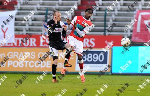 2012-04-20 / Voetbal / seizoen 2011-2012 / R. Antwerp FC - Eendracht Aalst / Bob Cousin met John Cofie (r, Antwerp)..Foto: Mpics.be