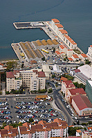 Carpark and buildings at the port, Gibraltar.