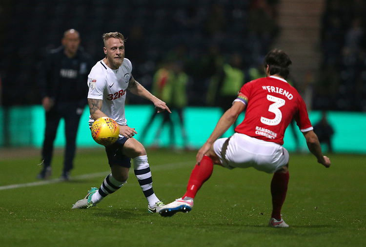 Preston North End's Tom Clarke<br /> <br /> Photographer Stephen White/CameraSport<br /> <br /> The EFL Sky Bet Championship - Preston North End v Middlesbrough - Tuesday 27th November 2018 - Deepdale Stadium - Preston<br /> <br /> World Copyright © 2018 CameraSport. All rights reserved. 43 Linden Ave. Countesthorpe. Leicester. England. LE8 5PG - Tel: +44 (0) 116 277 4147 - admin@camerasport.com - www.camerasport.com