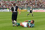 11.08.2019, Stadion Lohmühle, Luebeck, GER, DFB-Pokal, 1. Runde VFB Lübeck vs 1.FC St. Pauli<br /> <br /> DFB REGULATIONS PROHIBIT ANY USE OF PHOTOGRAPHS AS IMAGE SEQUENCES AND/OR QUASI-VIDEO.<br /> <br /> im Bild / picture shows<br /> Daniel Halke (VfB Luebeck) foult Kevin Lankford (FC St. Pauli).<br /> <br /> Foto © nordphoto / Freund