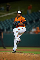 Bowie Baysox pitcher Francisco Jimenez (3) during an Eastern League game against the Richmond Flying Squirrels on August 15, 2019 at Prince George's Stadium in Bowie, Maryland.  Bowie defeated Richmond 4-3.  (Mike Janes/Four Seam Images)