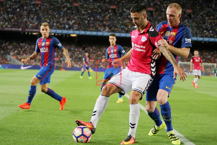 League Santander 2016/2017. Game: 3.<br /> FC Barcelona vs Deportivo Alaves: 1-2.<br /> Edgar vs Mathieu.