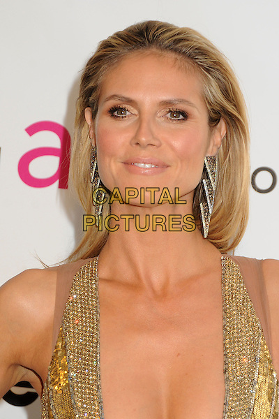 Heidi Klum .21st Annual Elton John Academy Awards Viewing Party held at West Hollywood Park, West Hollywood, California, USA..February 24th, 2013.oscars headshot portrait gold diamante sequins sequined silver earrings .CAP/ADM/BP.©Byron Purvis/AdMedia/Capital Pictures.