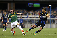 San Jose, CA - Saturday September 30, 2017: Liam Ridgewell, Chris Wondolowski during a Major League Soccer (MLS) match between the San Jose Earthquakes and the Portland Timbers at Avaya Stadium.