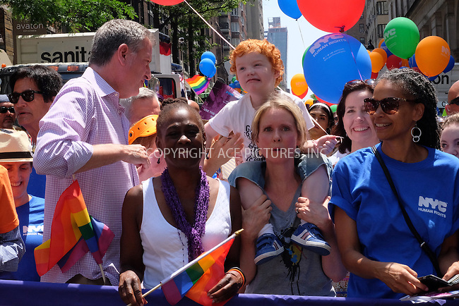 www.acepixs.com<br /> <br /> June 26 2016, New York City<br /> <br /> Mayor of New York City Bill de Blasio, Chirlane McCray and Cynthia Nixon attending the New York City Pride 2016 Parade on June 26, 2016 in New York City.<br /> <br /> <br /> By Line: Curtis Means/ACE Pictures<br /> <br /> <br /> ACE Pictures Inc<br /> Tel: 6467670430<br /> Email: info@acepixs.com<br /> www.acepixs.com