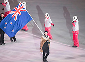 9th February 2018, Pyeongchang, South Korea; 2018 Winter Olympic Games; Opening Ceremony at PyeongChang Olympic Stadium; Beau James Wells leading the national team carries flag of New Zealand