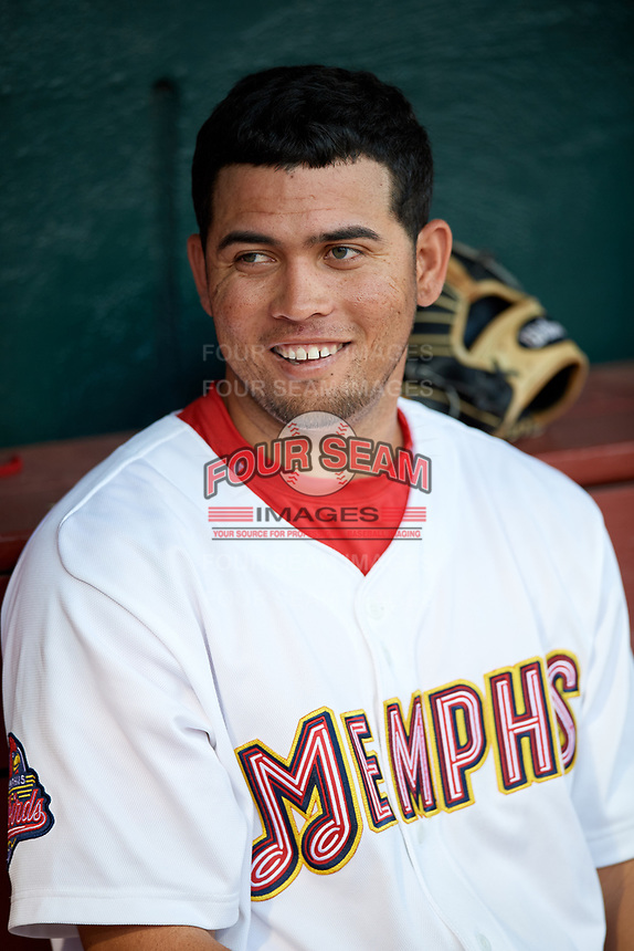 Memphis Redbirds designated hitter Breyvic Valera (68) in the dugout during a game against the Round Rock Express on April 28, 2017 at AutoZone Park in Memphis, Tennessee.  Memphis defeated Round Rock 9-1.  (Mike Janes/Four Seam Images)