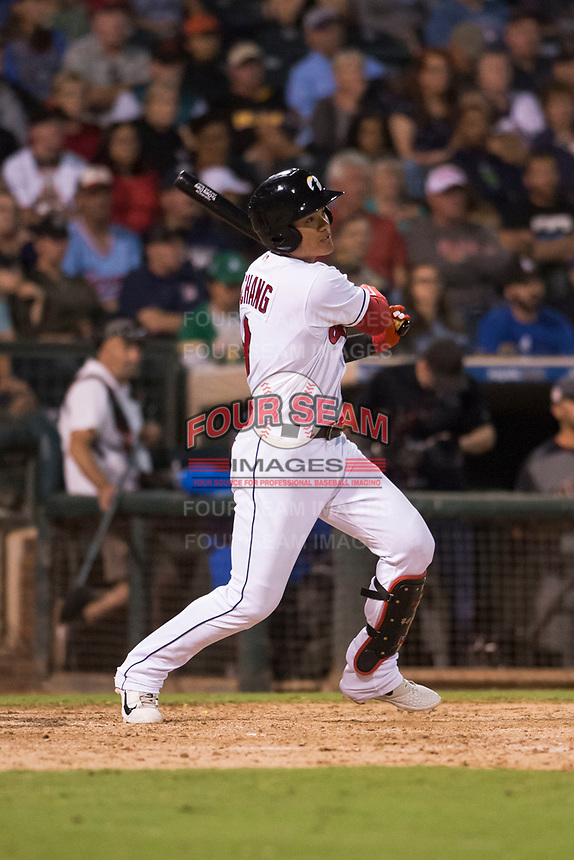 AFL West second baseman Yu Chang (9), of the Glendale Desert Dogs and Cleveland Indians organization, hits a two run triple during the Fall Stars game at Surprise Stadium on November 3, 2018 in Surprise, Arizona. The AFL West defeated the AFL East 7-6 . (Zachary Lucy/Four Seam Images)
