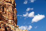 Cloud formations and rock formations near Moab, Utah, USA.