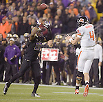 Oregon State Beavers quarterback Sean Mannion passes against the Washington Huskies at CenturyLink Field in Seattle, Washington on October 27, 2012.  Mannion completed 18 of 34 passes for 221 yards, one touchdown and four interceptions in the 7th ranked Beavers 17-20 loss to the Huskies.   ©2012. Jim Bryant Photo. ALL RIGHTS RESERVED.