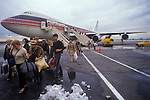 People Express PeoplExpress Airline, May 26th 1983 first flight from Gatwick airport London to Newark New Jersey USA Arrival USA