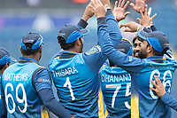 high fives as Sri Lanka celebrate the wicket of Hazratullah Zazai (Afghanistan) during Afghanistan vs Sri Lanka, ICC World Cup Cricket at Sophia Gardens Cardiff on 4th June 2019