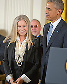 Singer, actor, director and songwriter Barbra Streisand listens as her citation is read prior to receiving the Presidential Medal of Freedom from United States President Barack Obama during a ceremony in the East Room of the White House in Washington, DC on Tuesday, November 24, 2015.  The Medal is the highest US civilian honor, presented to individuals who have made especially meritorious contributions to the security or national interests of the US, to world peace, or to cultural or significant public or private endeavors.<br /> Credit: Ron Sachs /  CNP