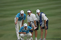 Henrick Stenson & Robert Karlson with their caddies assess the line of a putt on 16 during Satuday's afternoon fourball at the 37th Ryder Cup at Valhalla Golf Club, Louisville, Kentucky, USA - 20th September 2008 (Photo by John Hetherton/GOLFFILE)