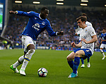 Romelu Lukaku of Everton in action with Ben Chillwell of Leicester City during the English Premier League match at Goodison Park Stadium, Liverpool. Picture date: April 9th 2017. Pic credit should read: Simon Bellis/Sportimage