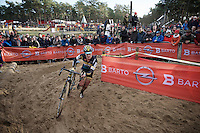 Ellen Van Loy (BEL/Telenet-Fidea) cornering in 2nd position in the deep sand near the playground<br /> <br /> 2016 Belgian National CX Championships