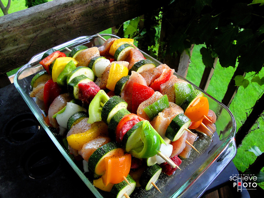 Shish-kabobs ready for the grill.