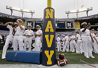 Navy cadets observe the field before Saturday's NCAA Division I football game between the Ohio State Buckeyes and the Navy Midshipmen at M&T Bank Stadium in Baltimore on August 30, 2014. (Dispatch Photo by Barbara J. Perenic)