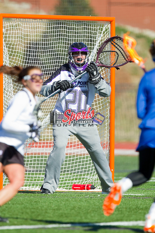 Julia Burns (20) of the High Point Panthers yells to her teammates during second half action against the Florida Gators at Vert Track, Soccer & Lacrosse Stadium on February 17, 2013 in High Point, North Carolina.  The Gators defeated the Panthers 13-7.   (Brian Westerholt/Sports On Film)