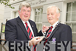 Cllr Sean Counihan, outgoing Mayor Of Killarney, pictured as he placed the new chain of Office on Killarney's New Mayor Cllr Sean O'Grady, after the Killarney UDC AGM in the council chambers on Monday evening.................................................................................................