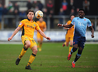 Newport County's Sid Nelson under pressure from Blackpool's Bright Osayi-Samuel<br /> <br /> Photographer Kevin Barnes/CameraSport<br /> <br /> The EFL Sky Bet League Two - Saturday 18th March 2017 - Newport County v Blackpool - Rodney Parade - Newport<br /> <br /> World Copyright &copy; 2017 CameraSport. All rights reserved. 43 Linden Ave. Countesthorpe. Leicester. England. LE8 5PG - Tel: +44 (0) 116 277 4147 - admin@camerasport.com - www.camerasport.com