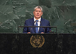 72 General Debate &ndash; 20 September <br /> <br /> <br /> His Excellency Almazbek Atambaev, President of Kyrgyz Republic