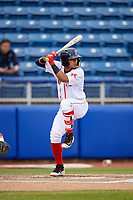 Salem Red Sox shortstop Santiago Espinal (5) at bat during the first game of a doubleheader against the Potomac Nationals on June 11, 2018 at Haley Toyota Field in Salem, Virginia.  Potomac defeated Salem 9-4.  (Mike Janes/Four Seam Images)