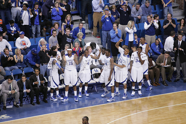 The Wildcats celebrate on the bench as time winds down against the University of Arkansas at Rupp Arena on Saturday. The Cats victory makes them 19-0 and the only undefeated team in the nation. Photo by Scott Hannigan | Staff
