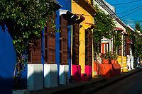 Refurbished colorful facades and wooden windows of the Spanish colonial houses are seen in the colonial walled city of Cartagena, Colombia, 12 December 2017. With the peace agreement, ending a 52-year civil conflict and promising political stability, together with rapid economic growth and unexploited tourism potential, Colombia has truly become a holiday destination. Cartagena, a UNESCO World Heritage site on the tropical Caribbean coast, plays the primary role in Colombia's tourism renaissance. The historic sites from the Spanish colonial times are being restored, private investments are visible throughout the city and an increased number of local people benefit from the boom of the travel related services.