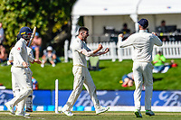 Mark Wood of England  celebrates the wicket of BJ Watling of the Black Caps during the final day of the Second International Cricket Test match, New Zealand V England, Hagley Oval, Christchurch, New Zealand, 3rd April 2018.Copyright photo: John Davidson / www.photosport.nz