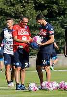 Maurizio Sarri   Raul Albiol  <br /> ritiro precampionato Napoli Calcio a  Dimaro 11 Luglio 2015<br /> <br /> Preseason summer training of Italy soccer team  SSC Napoli  in Dimaro Italy July 11, 2015