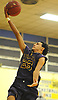 Angel Jimenez #23 of Central Islip drives to the net for two points during the fourth quarter of a non-league varsity boys basketball game against Elmont in the Richard Brown Nassau-Suffolk Challenge at Uniondale High School on Saturday, Jan. 13, 2018. Central Islip won by a score of 63-56.