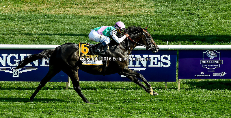 SARATOGA SPRINGS, NY - AUGUST 27: Flintshire #6, ridden Javier Castellano, wins the Sword Dancer Stakes on Travers Stakes Day at Saratoga Race Course on August 27, 2016 in Saratoga Springs, New York. (Photo by Scott Serio/Eclipse Sportswire/Getty Images)