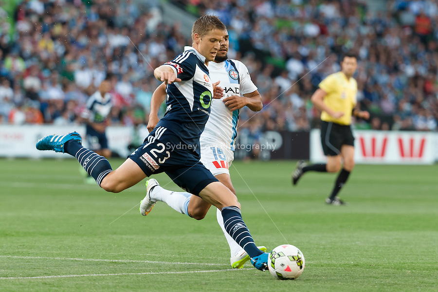 Adrian LEIJER of the Victory kicks the ball in round 11 A-League match between Melbourne City and Melbourne Victory at AAMI Park in Melbourne, Australia during the 2014/2015 Australian A-League season. City def Victory 1-0