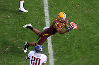 Nov. 28, 2009; Tempe, AZ, USA; Arizona State Sun Devils wide receiver (6) Kenny Williams makes a diving catch in the first quarter against the Arizona Wildcats at Sun Devil Stadium. Mandatory Credit: Mark J. Rebilas-