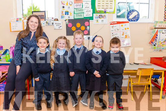 First day of school for Junior Infants at the Tiernaboul NS. Pictured are l-r Katie Murphy (class teacher), Mick Sheahan, Fia Claffey, Jamie O'Sullivan, Niamh Griffin and Frankie O'Sullivan.