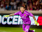 Real Salt Lake goalkeeper Nick Rimando (18) guards the net against the Philadelphia Union in the first half Saturday, March 14, 2015, during the Major League Soccer game at Rio Tiinto Stadium in Sandy, Utah. (© 2015 Douglas C. Pizac)